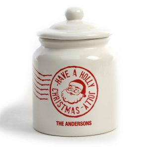 Santa Stamp Cookie Jar by Designer Maureen Anders