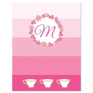 Tea Party Initial Note Cards
