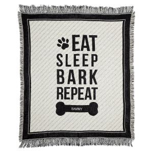 Eat, Sleep, Bark Dog Throw by Designer Maureen Anders