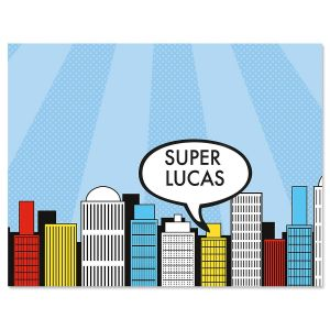 Super Heroes Personalized Notecards by Designer Maureen Anders