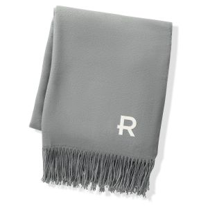 Personalized Grey Two Toned Reversible Throw