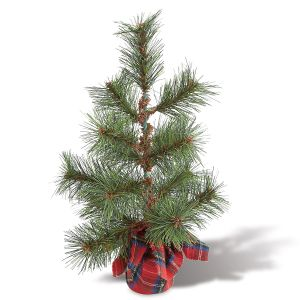 Red Tartan Plaid Faux Pine Tree