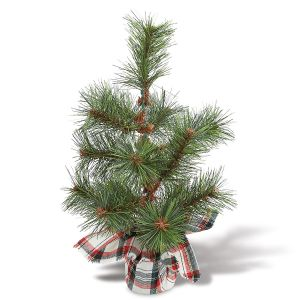 White Tartan Plaid Faux Pine Tree