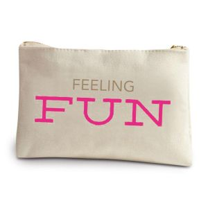 Feeling Fun Canvas Makeup Bag by Two's Company