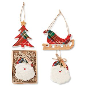 Christmas Tartan Ceramic Ornaments