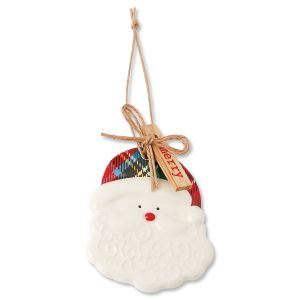 Christmas Santa Claus Tartan Ceramic Ornament