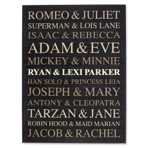 Famous Couples   Word Art Wooden Plaque