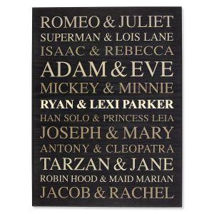 Famous Couples   Word Art Wooden Plaque