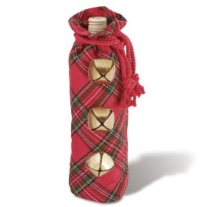 Jingle Bell Tartan Wine Bag