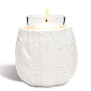 White Cable-Knit Votive