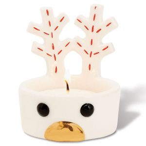 Reindeer Tea Light Holder with Gold Nose by Mud Pie