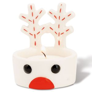 Reindeer Tea Light Holder with Red Nose by Mud Pie