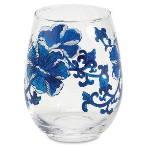 Blue & White Flower Wine Glass