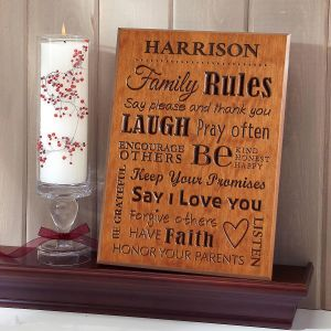 Family Rules   Wood Art Wooden Plaque
