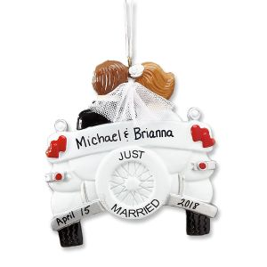 Just Married Wedding Personalized Ornaments