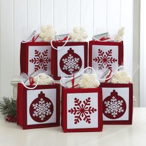 Christmas Snowflakes & Ornaments Felt Treat Bags