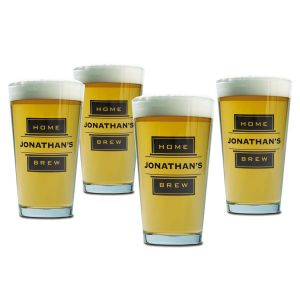 Home Brew Beer Pint Personalized Glasses