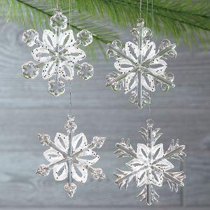 Glass Snowflake Christmas Ornaments