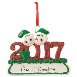2017 Glitter Christmas Personalized Ornaments