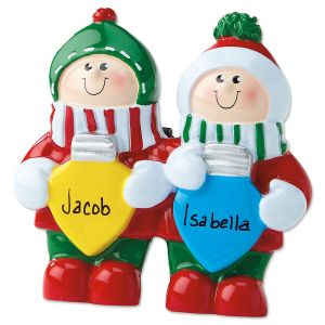 Colored Bulbs Tabletop Easel Personalized Ornaments