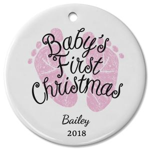 Personalized Baby Girl's First Christmas Ceramic Ornament