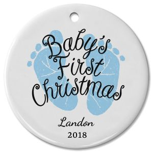 Personalized Baby Boy's First Christmas Ceramic Ornament