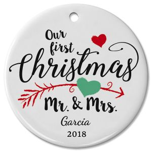 First Christmas as Mr & Mrs Wedding Ceramic Personalized Christmas Ornaments