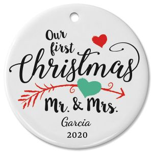 Personalized First Christmas Wedding Ceramic Christmas Ornament