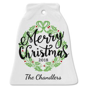 Merry Christmas Ceramic Personalized Christmas Ornament