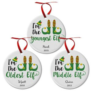 Personalized Elf Ceramic Christmas Ornaments