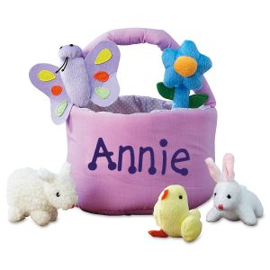 Personalized Easter Basket with 5 Plush Toys