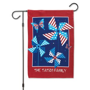 Personalized Patriotic Spinners Garden Flag