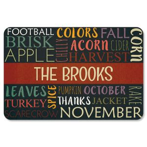 Autumn Words Personalized Thanksgiving Doormat