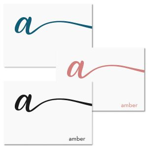 Cursive Initial Folded Note Cards
