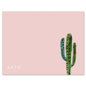 Watercolor Cactus Folded Initial Note Cards