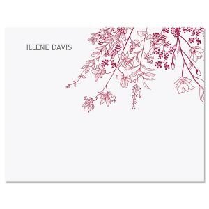 Plum Floral Folded Note Cards