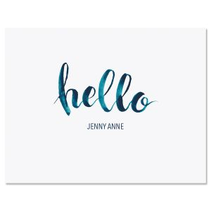 Watercolor Hello Folded Note Cards