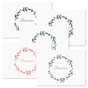 Floral Shield Wreath Folded Note Cards