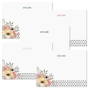 Floral Dots Folded Note Cards