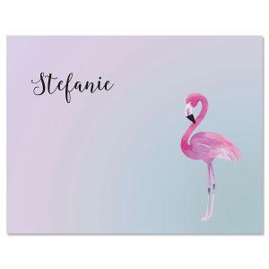 Single Flamingo Folded Note Cards