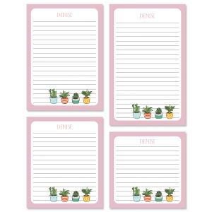 Pink Border Succulents Notepads