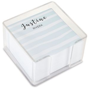 Personalized Island Stripes Note Sheets in a Cube