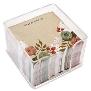 Personalized Kraft Floral Note Sheets in a Cube