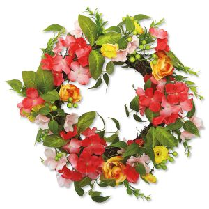 Rose & Pink Wreath with YellowFlowers