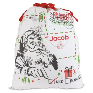 Personalized Naughty or Nice Canvas Gift Bag