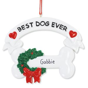 Christmas Ornament Best Dog Ever Hand-Lettered