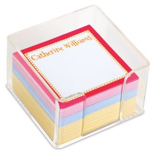 Personalized Bright Borders Note Sheets in a Cube