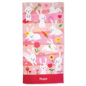 Personalized Pink Bunny Towel