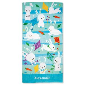 Personalized Blue Bunny Towel