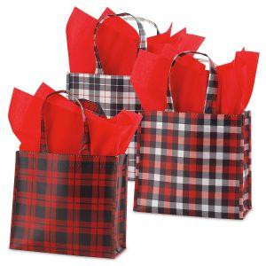 Holiday Plaid Small Tote Bags - BOGO